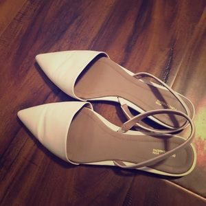 DVF White Leather Flats.